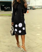 Осеннее черное длинное платье-блузка с принтом в горошек и длинными рукавами