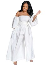 Plus Size White Strapless Formal Jumpsuit