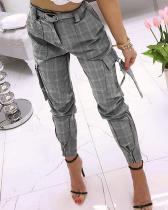 Pantalón Western de cintura alta con bolsillo a cuadros y cinturón