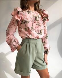 Shorts elegantes lisos de cintura alta occidental