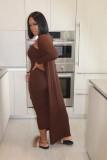 お揃いのカーディガンが付いた秋のソリッドプレーンチューブドレス