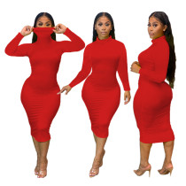 Party Sexy Plain Curvy Dress with Full Sleeves