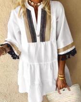 Платье в стиле бохо А-силуэта с кисточками и рукавами