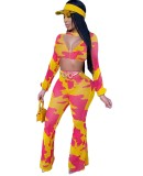 Set di pantaloni e top corto con stampa abbinata a 2 pezzi Party Sexy