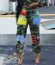 Afrikaanse casual hoge taille contrasterende broek