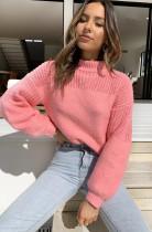 Herbstlicher Pullover mit O-Ausschnitt und Pop-Ärmeln