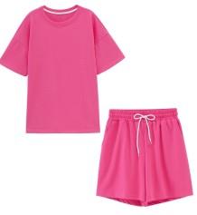 Passendes zweiteiliges einfaches Hemd und Shorts Pyjama-Set