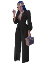 Solid Color Elegant Long Sleeve Jumpsuit with Belt