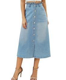 Saia longa jeans linha A de cintura alta ocidental