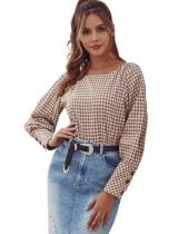 Camisa vintage con estampado de cuadros otoñales