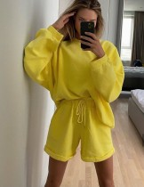 Herbst 2PC Matching Plain Shirt und Shorts Lounge Wear
