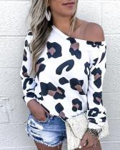 Camisa de manga larga de leopardo blanca de otoño