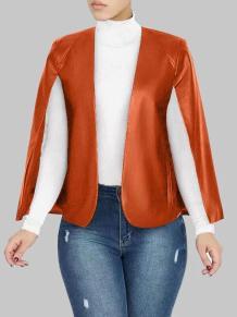 Jaqueta de couro com mangas com fenda outono