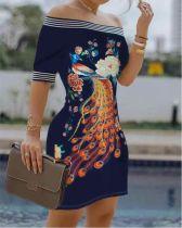 Summer Off Shoulder Blumenblaues Minikleid