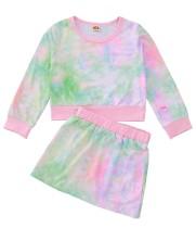 Ensemble de jupe 2 pièces pour enfants fille automne tie-dye