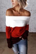 Herbst ohne Schulter Kontrast Kontrast Pullover Top