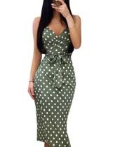 Elegant Polke Green Sleeveless Wrapped Midi Dress