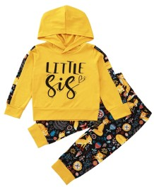 Kids Girl Autumn Animal Hoody Top and Pants Set