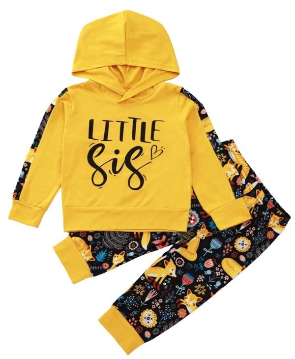 Set felpa con cappuccio e pantaloni per bambina autunno animali