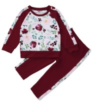 Kinderen meisje herfst bloemen shirt en broek set
