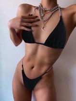 Sexy Black 2PC Ketten Micro Badebekleidung