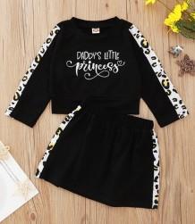 Kids Girl Autumn Print Schwarzes Hemd und Rock Set