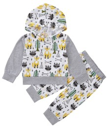 Conjunto de calças e camisa com capuz Kids Boy Autumn Animal