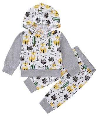 Set camicia e pantaloni con cappuccio per bambini autunno animali