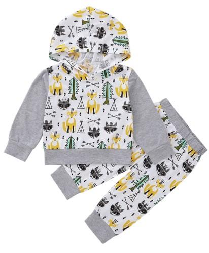 Kinderen jongens herfst dier hoody shirt en broek set