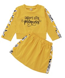 Set camicia e gonna gialla con stampa autunnale per bambina