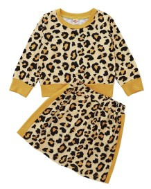 Set camicia e gonna leopardata autunnale per bambina