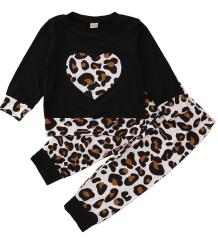 Set camicia e pantaloni leopardati autunnali per bambina