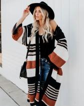 Herbstlicher Kontrast Langer Pullover Mantel