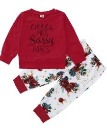 Camicia rossa con stampa autunnale per bambina e pantaloni floreali