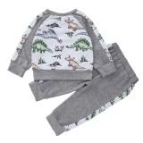 Осенний комплект детской рубашки и брюк с животными для мальчиков