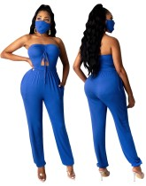 Party Sexy Cut Out Strapless Plain Jumpsuit with Matching Face Cover