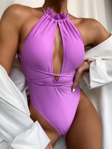 Sexy einteilige Neckholder-Badebekleidung