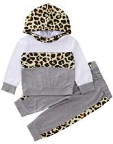 Ensemble haut et pantalon à capuche léopard pour fille pour enfants