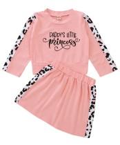Ensemble chemise et jupe rose à imprimé automne pour fille pour enfants