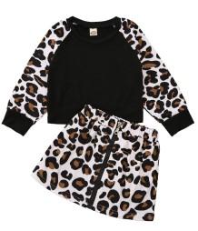 Set camicia e gonna leopardata autunnale per bambina