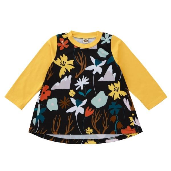 Детское осеннее платье трапеции с цветочным рисунком для девочек