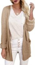 Cárdigans largos con bolsillos altos y bajos de otoño con aberturas laterales