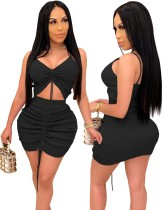 Sexy Knitted Ruched Crop Top and Mini Skirt Set