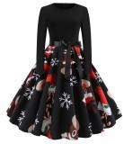 Vintage Black Christmas Print Long Sleeve Skater Dress