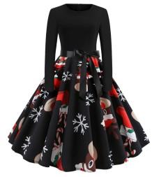 Vintage Black Christmas Print Langarm Skater Kleid