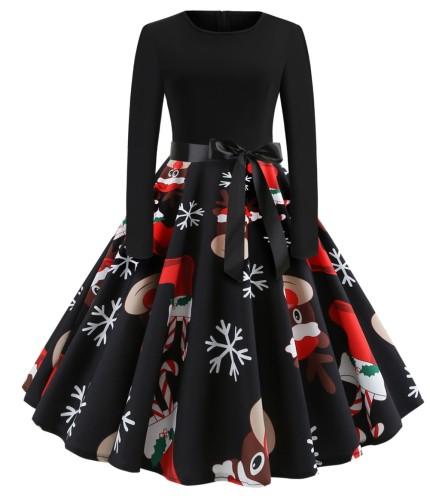 Vintage Siyah Noel Baskı Uzun Kollu Patenci Elbise