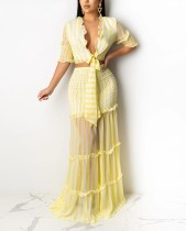 Conjunto de falda larga y top corto a rayas a juego de verano de 2 piezas