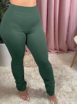 Leggings apilados ajustados de cintura alta de color liso