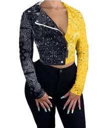 Jaqueta curta estampada outono contraste mangas compridas com zíper