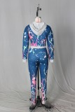 Autumn Print Colorful Crop Hoody and Pants Sweatsuit